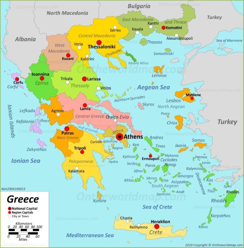 Карта на Гърция