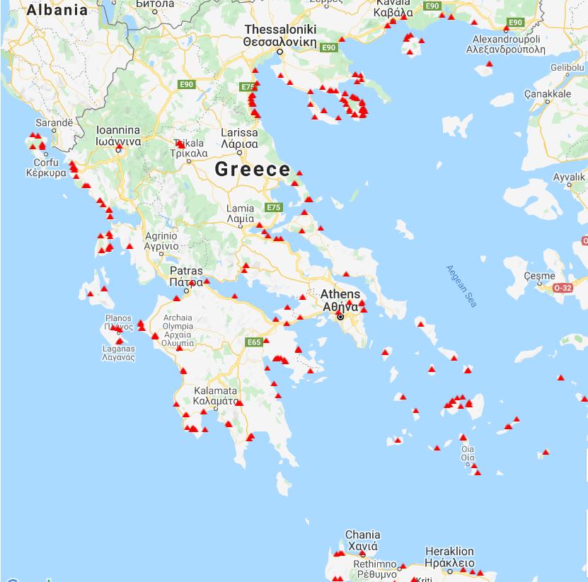 карта на къмпингите в Гърция