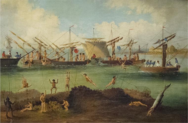 улов на морски гъби в Гърция