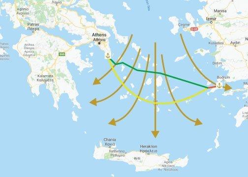 популярни маршрути е Егейско море