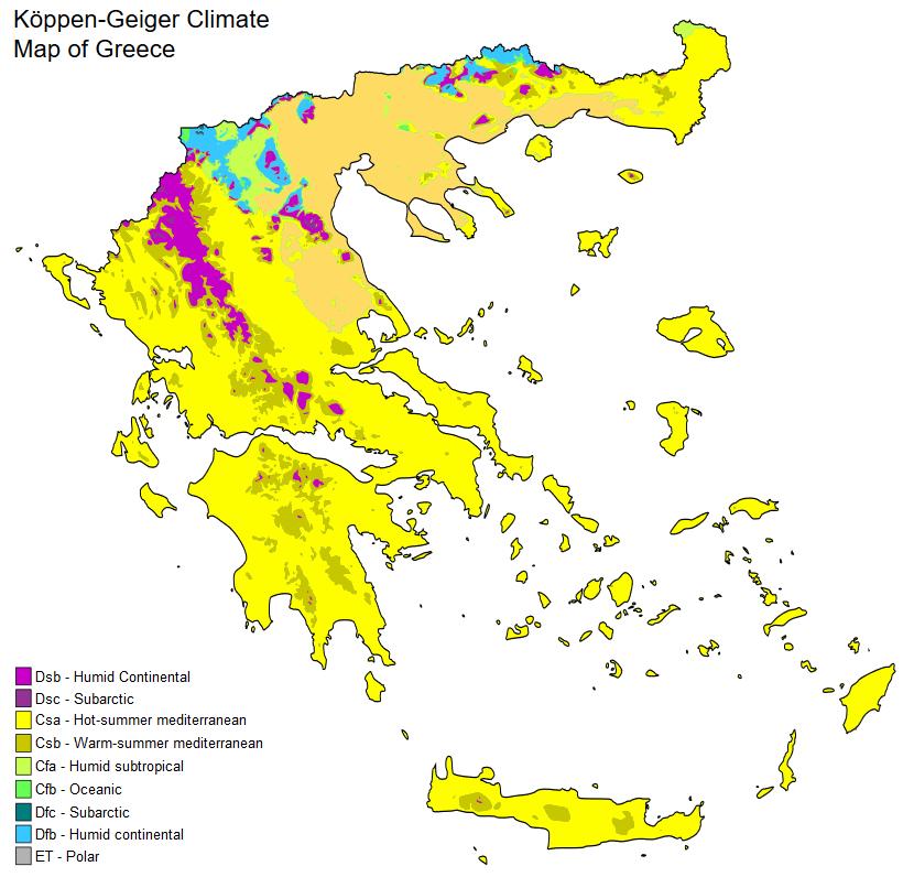 карта на климата в Гърция