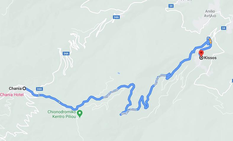 карта от Кисос до ски центъра край Ханиа