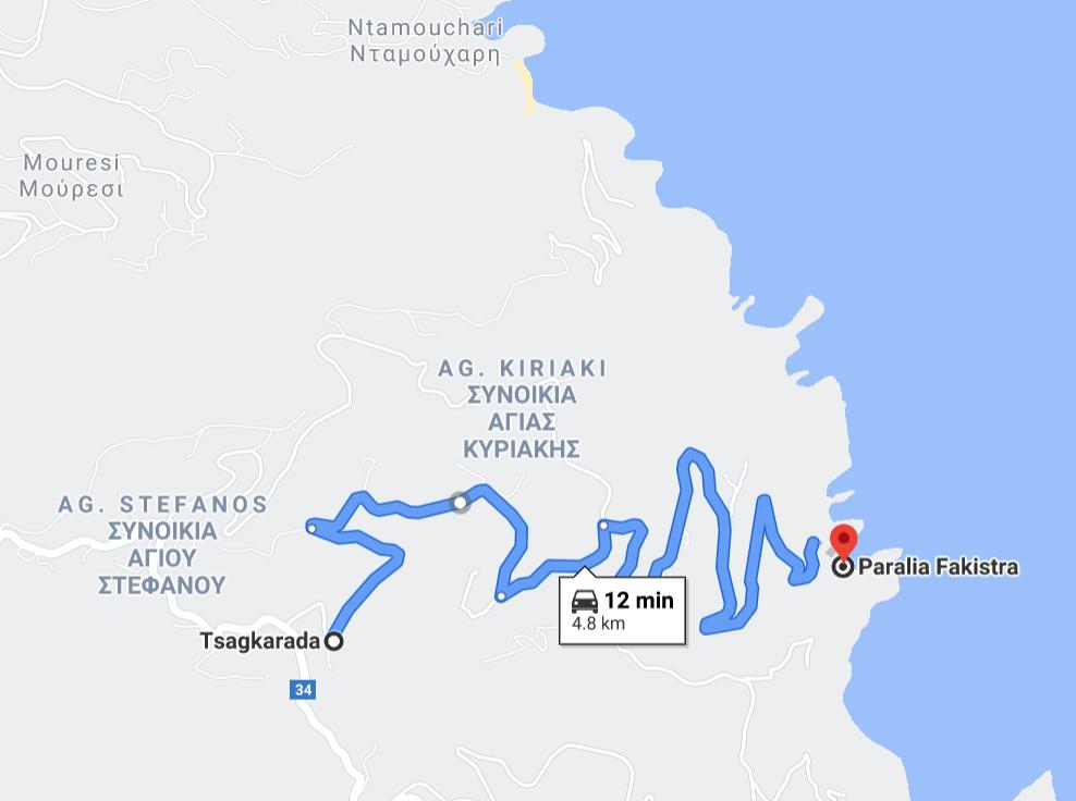Карта на плаж Факистра