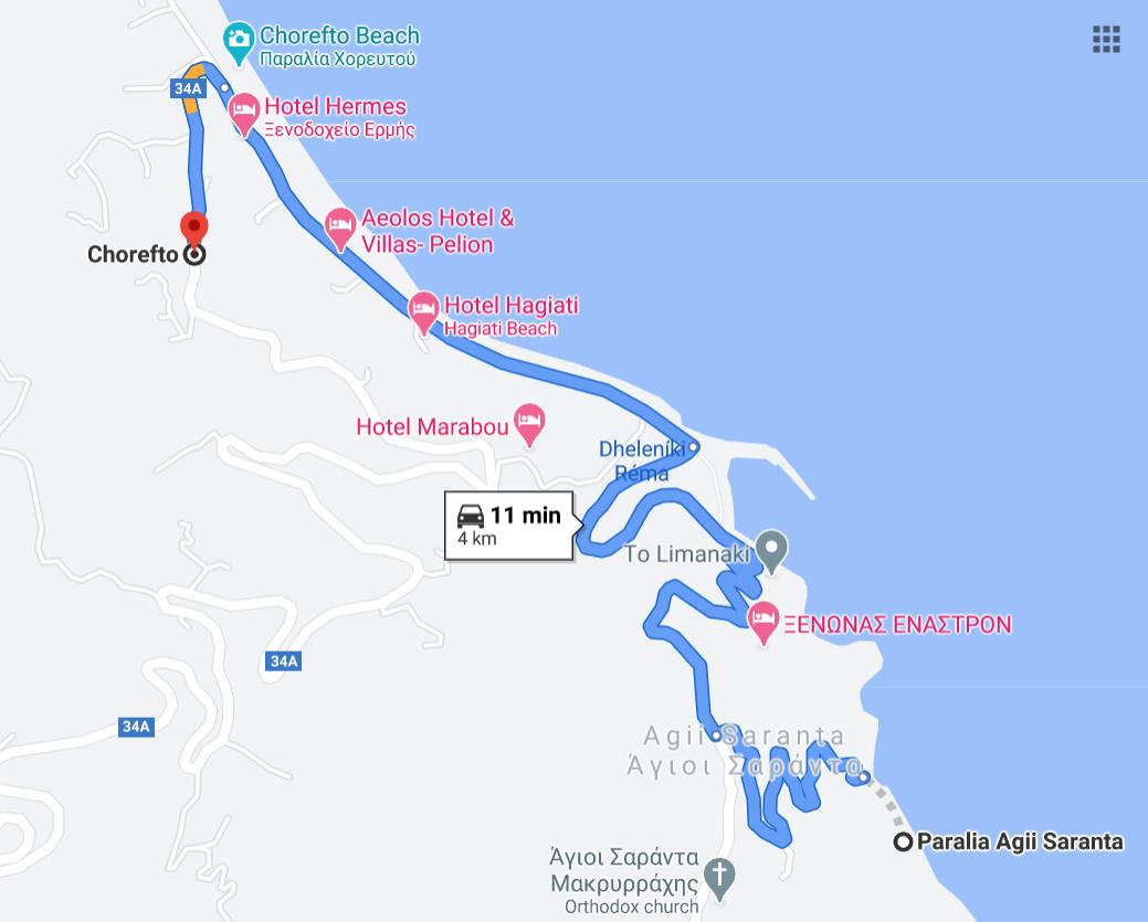 Карта на плаж Агии Саранда