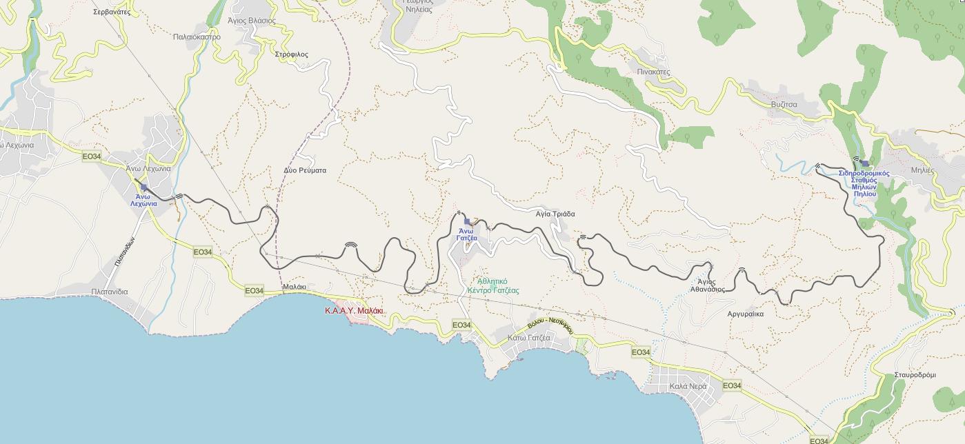 Карта на теснолинейката на Пилио