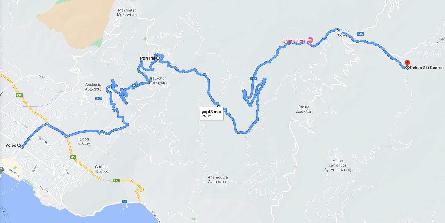 Карта на Портариа Пилио