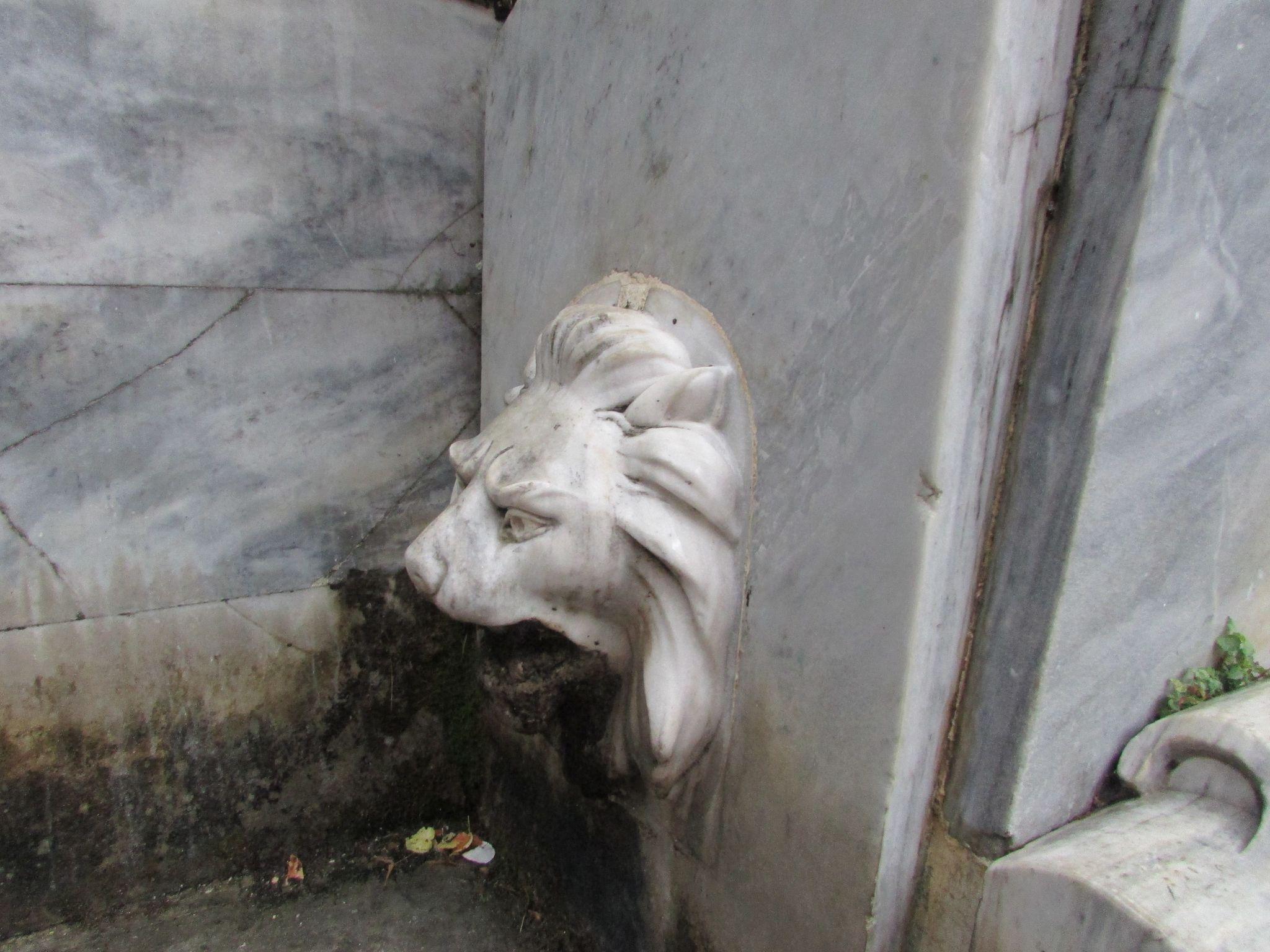 чешма с форма на глава на лъв в Агиос Лаврентиос