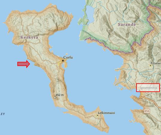Карта На Корфу и Игуменица