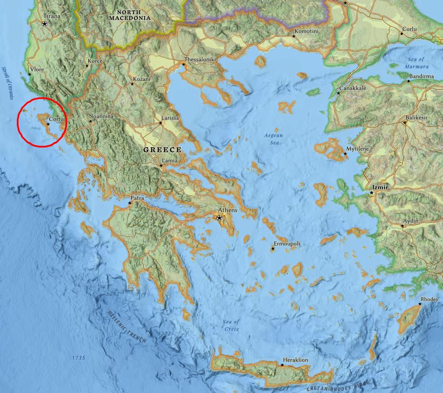Карта на Гърция с остров Корфу