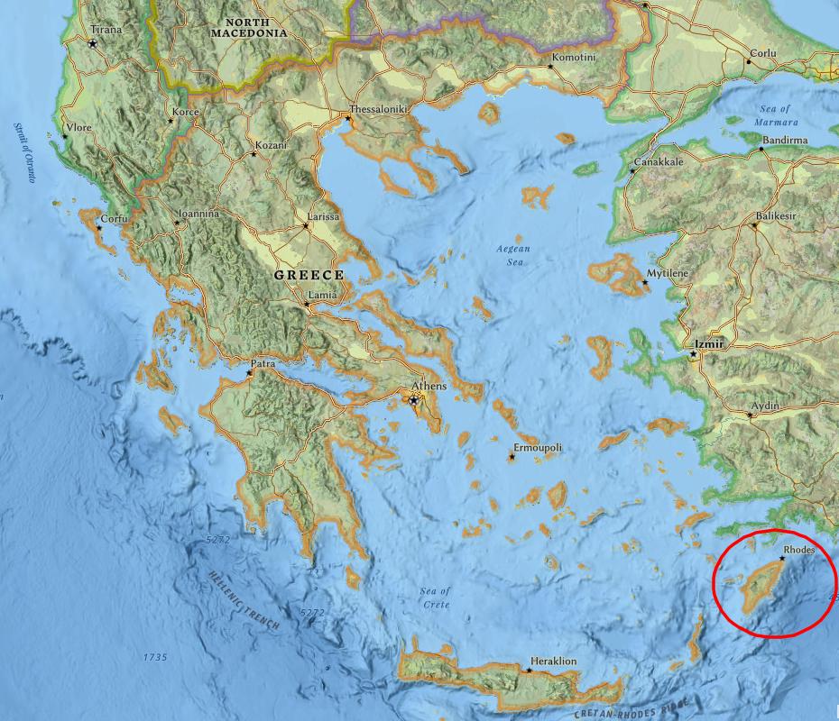 Карта на Родос в Гърция